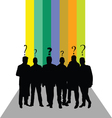 people silhouette with question mark color vector image vector image