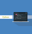 python programming language with example code on vector image vector image