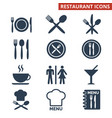 restaurant icons set on white background vector image vector image