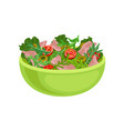 salad from fresh tomatoes bacon green olives and vector image