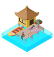 scene of rest in isometric view with sea bungalow vector image