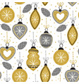 Seamless pattern with gold christmas decorations