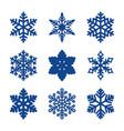 set 9 paper cut snowflakes vector image vector image