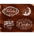 Set chocolate labels brown vector image