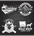 set cowboy club badge on chalkboard wild west vector image vector image