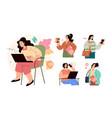 set modern city business woman girls students vector image