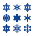 set of 9 paper cut snowflakes vector image
