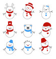 set of winter holidays snowman set of winter vector image vector image