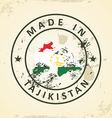 Stamp with map flag of Tajikistan vector image vector image
