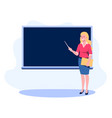 teacher with a pointer shows on blackboard a vector image vector image