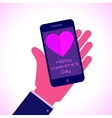 Valentines Day - Smartphone on hand flat icon vector image