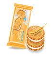 vanilla cream cookies realistic product vector image vector image