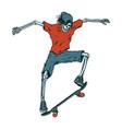 vintage colorful skeleton skateboarder vector image