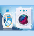 washing machine with linen liquid washing powder vector image vector image