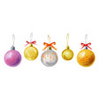 watercolor christmas balls isolated vector image