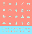 Wedding color icons on orange background vector image vector image