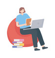 woman sitting with laptop and books working vector image