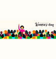 womens day card of diverse woman social group vector image vector image