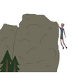 young men hanging from the rock only one hand vector image