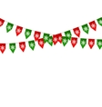 Christmas bunting flag isolated on white vector image