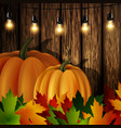 autumn leaves and pumpkins on wooden texture vector image