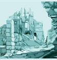 background drawn ice stone ruins in blue color