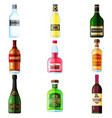 Big set of different bottles of alcohol drinks