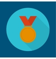 Bronze medal with red ribbon vector image vector image