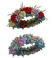 cartoon colorful flower wreath set vector image