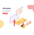 cheap and affordable concept isometric design vector image vector image