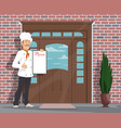 chef man with menu inviting to restaurant vector image
