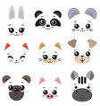 collection of nine cute animal faces vector image