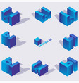 collection with vivid blue isometric vector image vector image