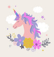 cute unicorn with flowers modern magical vector image