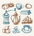 delicious coffee - colored hand drawn vector image vector image