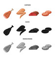 design of meat and ham icon set of meat vector image