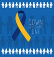 down syndrome day blue and yellow ribbon people vector image vector image