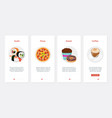 fast food cafe with sushi pizza desserts and vector image