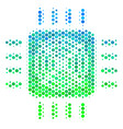 halftone blue-green asic processor icon vector image vector image
