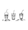 hand drawn of iced coffee and tea vector image
