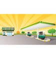 house and gas station vector image vector image