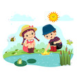 kids playing paper boat in pond vector image