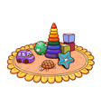 many bright childrens toys on a round rug in the vector image vector image