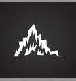 mountain icon on black background for graphic and vector image