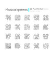 musical genres pixel perfect linear icons set vector image