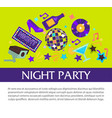 night party promotional banner with big sign and vector image