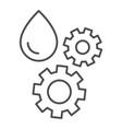 oil and gear thin line icon automobile liquid