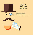 page with 404 error in cartoon joke style vector image vector image