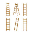 realistic detailed 3d wooden stairs ladders vector image vector image