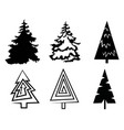 set christmas trees collection stylized vector image vector image